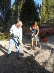 Making gravel mounds to straighten the wheel wells