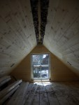 Sleeping loft all insulated :) The last peices we put up there will have to get ripped throught he table saw to fit right