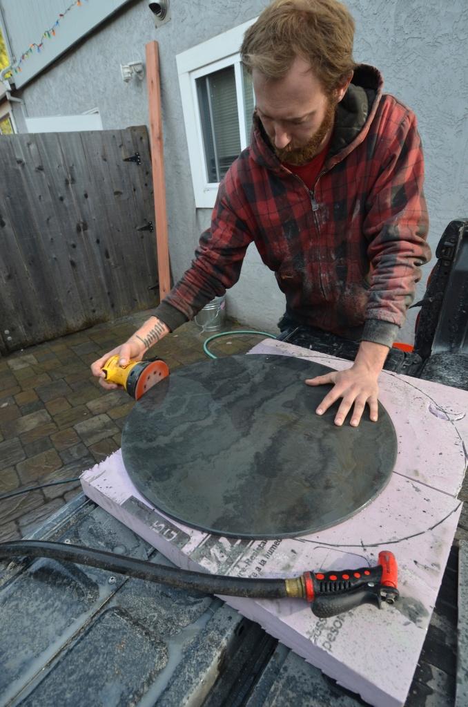 Wet sanding the slate